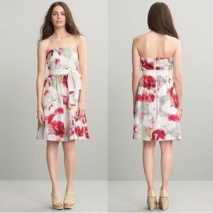 Banana Republic Pink Floral Belted Strapless Dress